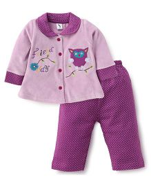 Cucumber Collar Neck Top With Dotted Leggings Night Suit - Purple