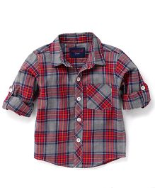 Cucumber Full Sleeves Checkered Shirt - Red
