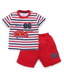 Child World Half Sleeves Striped T-Shirt And Shorts - Red