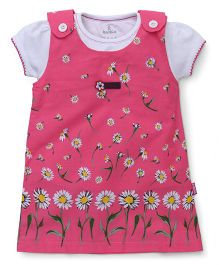 Child World Frock With Inner Top Floral Print - Pink White