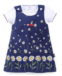 Child World Frock With Inner Top Floral Print - Blue White