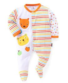 Child World Full Sleeves Footed Romper - Orange