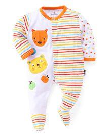 Child World Full Sleeves Footed Romper - Orange