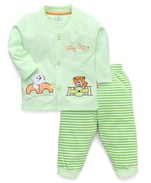 Child World Night Suit T-Shirt And Leggings Car Patch - Green