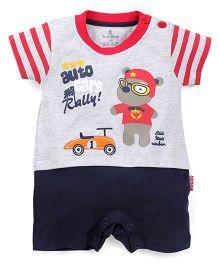 Child World Half Sleeves Romper Teddy Design - Red