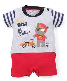 Child World Half Sleeves Romper Teddy Design - Blue