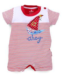 Child World Half Sleeves Romper Boat Patch - Red
