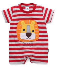 Child World Striped Romper With Lion Patch - Red