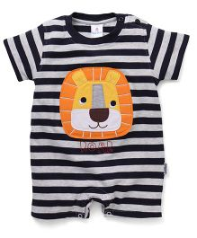 Child World Striped Romper With Lion Patch - Navy