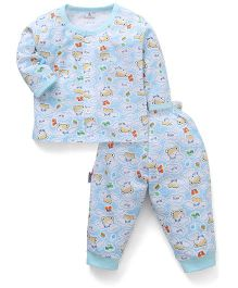 Child World Full Sleeves Night Suit With Bear Print - Sky Blue