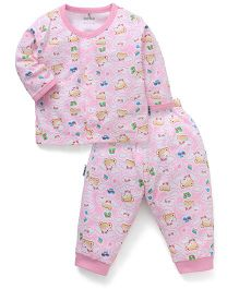 Child World Full Sleeves Night Suit With Bear Print - Pink