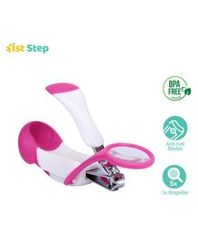 1st Step Nail Clipper with Magnifier - White Pink