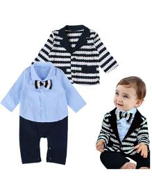 Dells World Romper With Striped Coat - Blue