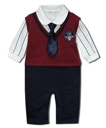 Dells World Smart Romper With A Tie - Maroon