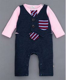 Dells World Romper With Tie & Patch Pocket - Navy Blue