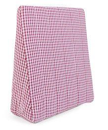 Babyoye Wedge Support Pillow Checks Print - White & Dark Pink