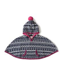 Weedots Hooded Poncho Aztec Print - Navy White