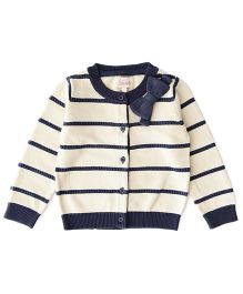 Weedots Full Sleeves Striped Cardigan - Navy Off White