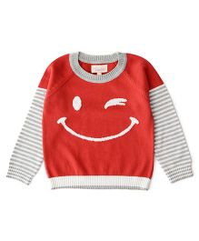 Weedots Full Sleeves Sweater - Red Grey