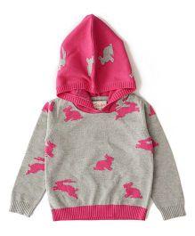Weedots Full Sleeves Hooded Sweater Rabbit Print - Grey Pink