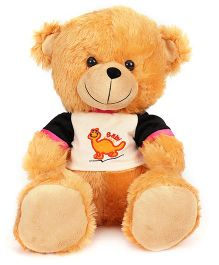 Funzoo Teddy Bear With Dinosaur Print T-Shirt Light Brown - 40 cm