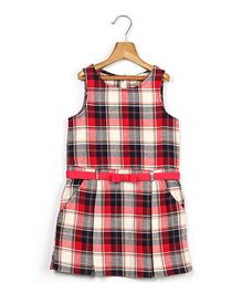 Beebay Sleeveless Check Tunic Dress - Red
