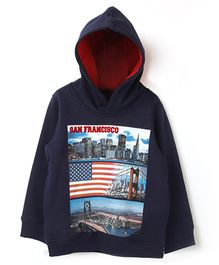 Beebay Full Sleeves San Francisco Hooded Sweatshirt - Navy Blue