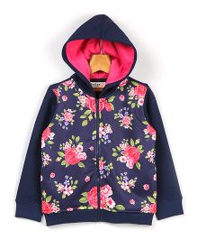 Beebay Floral Print Zip Up Hoodie - Navy Blue