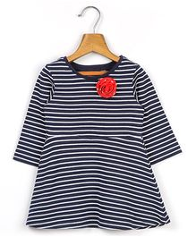 Beebay Long Sleeves Striped Dress With Floral Applique - Navy Blue