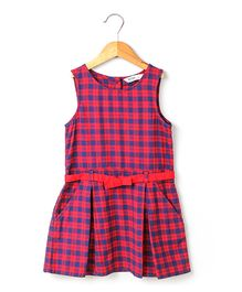 Beebay Sleeveless Checks Pleated Dress With Belt - Navy Red