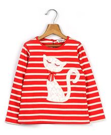 Beebay Full Sleeves Striped T-Shirt Kitty Applique - Red