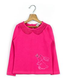 Beebay Lace Peterpan Collar T-Shirt Bunny Embroidery - Pink