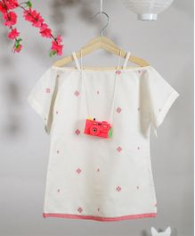 Love The World Today Shibuya In Jamdani Print Dress - White & Pink
