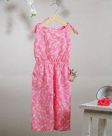 Love The World Today Sakura Fubuki Hand Block Printed Jumpsuit - Pink