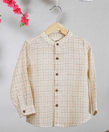 Love The World Today Kyoto Checks Printed Shirt - Off White & Brown