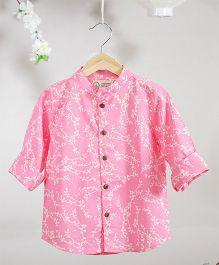 Love The World Today Kyoto Hand Block Printed Shirt - Pink