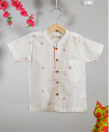 Love The World Today Zen Jamdaani Printed Shirt - White & Pink