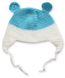 Nappy Monster Crochet Cap With Ears - Blue & White