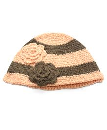 Nappy Monster Striped Crochet Cap With Flower - Peach & Brown
