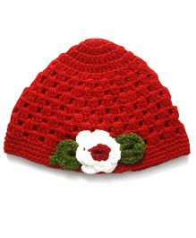 Nappy Monster Crochet Cap With White Flower - Red