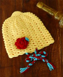 Nappy Monster Beanie With A Red Flower & Braids - Yellow