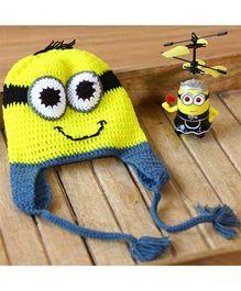 Nappy Monster Cartoon Crochet Cap - Yellow