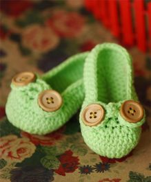 Nappy Monster Booties With Buttons- Green