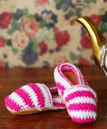 Nappy Monster Striped Loafer Booties - Fuchsia & White