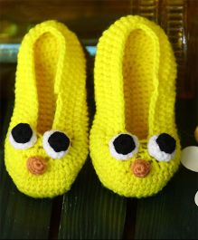 Nappy Monster Face Booties - Yellow