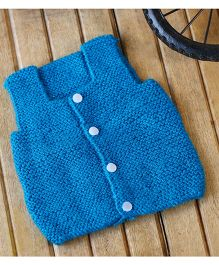 Nappy Monster Knitted Sleeveless Front Open Sweater - Blue