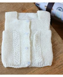 Nappy Monster Sleeveless Front Open Sweater - White