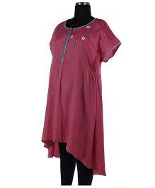 Kriti Half Sleeves Maternity Kurti Floral Embroidery - Pink