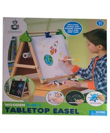 Playwell Discovery Kids Wooden 3 in 1 Table Top Easel - White Brown