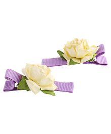 NeedyBee Rose Motif Hair Clip Set - Cream